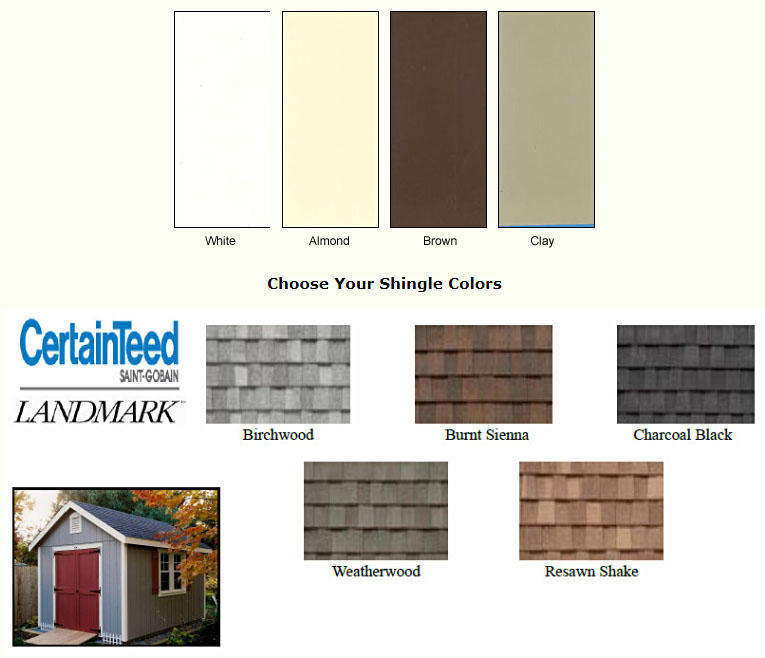Garden Shed Options & Accessories garage door colors